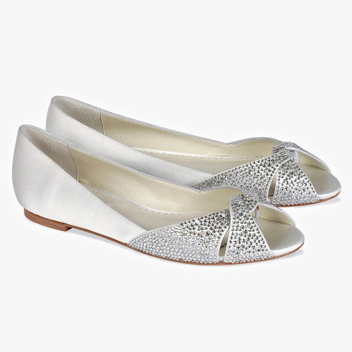 Andie Bridal Flats With Crystal Toe Detail