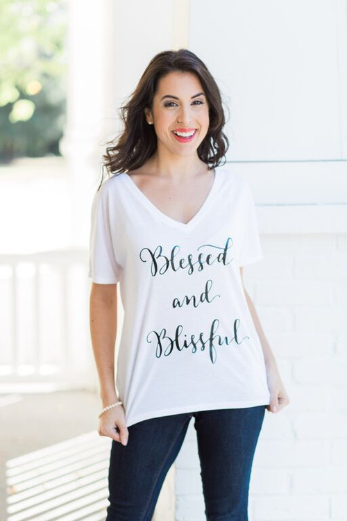 Blessed & Blissful Calligraphy Tee