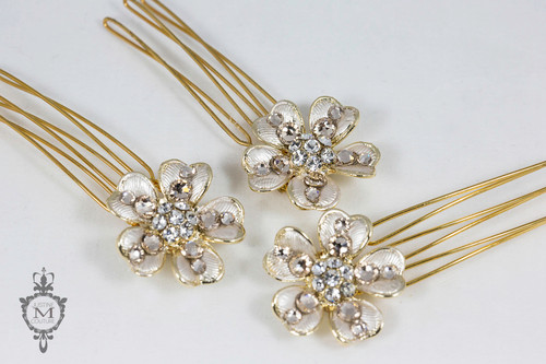 Justine M. Couture Misty Rose Hair Ornaments -Set of 3