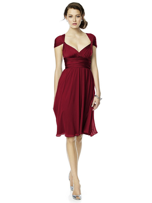Dessy Twist Wrap Dress W/ Chiffon Overskirt: Short