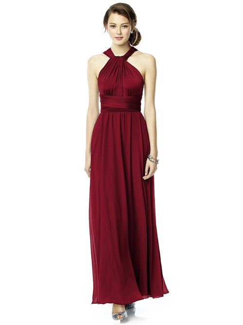 Dessy Twist Wrap Dress W/ Chiffon Overskirt: Long