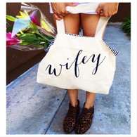 Wifey Stripe Canvas tote