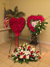 THREE PIECE SET -CASKET SPRAY , FULL ROSE HEART ,PICTURE FRAME HEART