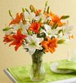 Orange and White Lily Bouquet