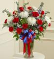 Red White and Blue Large Sympathy Vase Arrangement