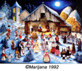 "Christmas Cards  ~ ""Villagers Visit the Manger"" by Marijana Pintar Grisnik  - Set of 10 ~"