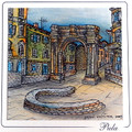CROATIAN MEMORIES: Hand Painted Frameable ART CARD ~ Imported from Croatia, Pula: ONE-OF-A-KIND! 75% Off SALE!