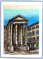 CROATIAN MEMORIES: Hand Painted Frameable ART CARD ~ Imported from Croatia, Pula: ONE-OF-A-KIND! 75% Off SALE! ArtCard9/Pula/MonumentTown