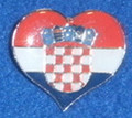 Lapel Pin ~ Heart with GRB (Croatian Crest): Imported from Croatia! NEW 2016!
