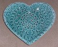 PAG LACE Heart Plate by Ceramic Artist, Mario Barisin: Imported from Croatia: Limited Quantity! Signed by the Artist! SOLD OUT! (TEAL)