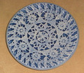 PAG LACE Round Plate by Ceramic Artist, Mario Barisin: Imported from Croatia: Signed by the Artist! (Blue) RE-STOCKED!