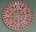 PAG LACE Round Plate by Ceramic Artist, Mario Barisin: Imported from Croatia: Signed by the Artist! (Red) RE-STOCKED!