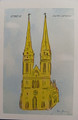 """Zagreb Cathedral"" Print by Mario Barisin (blue background)"