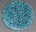 PAG LACE Round Plate by Ceramic Artist, Mario Barisin: Imported from Croatia: Signed by the Artist! ONLY ONE AVAILABLE! (Teal)