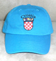 "Ball Cap, Deep Turquoise Blue - ""Croatia""  Embroidered Outline in Black, with GRB: NEW!"