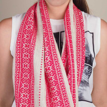 This scarf is on LINEN, which is a warm oatmeal in color.