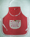 APRON, Made in and Imported from Croatia---for Girls! ONE-OF-A-KIND! NEW! (polka dotsRED)
