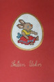 **CROATIAN EASTER CARDS with Female Bunny, Hand Embroidered (Red Background) ~ Created in and Imported from Croatia: NEW!
