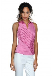 Diagonal Ruffle Sleeveless Blouse with Stretchy Back