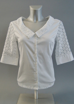 Crochet Collar and Sleeves Blouse