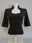 Stretchy Blouse with Balconette Neckline and Half Length Sleeves