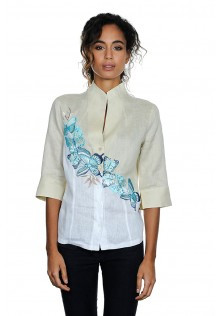 Butterfly Linen Blouse with Stand Up Collar and Half Length Sleeves