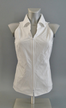 Classic Style Sleeveless Blouse with Pintuck Center in White