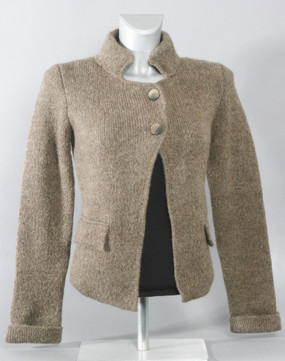 Heavy Weight Cardigan with Stand Up Collar in Light Brown