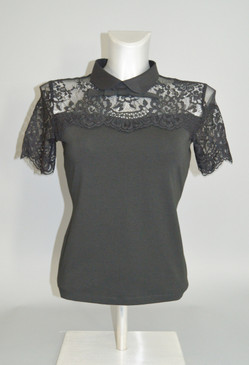 Black Pullover Stretchy Blouse with Lace Detailing