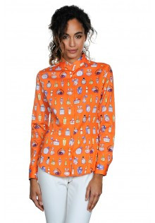 Orange Classic Style Blouse with Chic Perfume Print