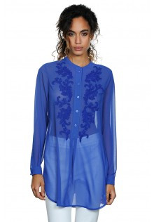Floral Stitch Embroidery Tunic in Blue