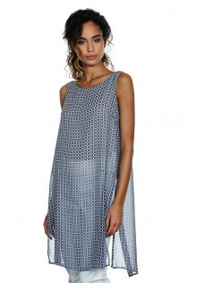 Light Weight Sheer Tunic in Navy and White with Slit Back Feature