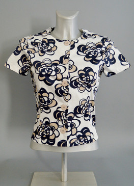 Floral Pattern Blouse with Ivory Background