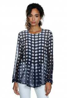 Light Weight Sheer Pullover Blouse in Navy with White Square Pattern