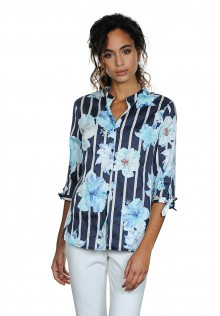 Floral Blouse with Half Length Sleeves