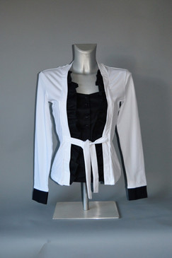 Stretch Body in White with Center Black Bodice