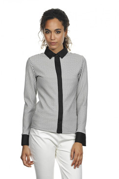 Classic Style Stretchy Blouse in White with Mini Black Squares