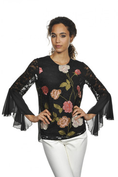 Black Floral Pullover Blouse with Winged Sleeves