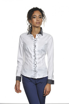 Classic Style Blouse in White with Gray Ruffles and Accent Stitching
