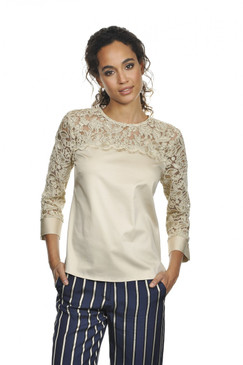 Floral Lace Detailing Blouse in Beige