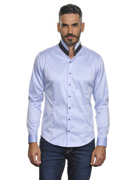 Slim Fit Polished Cotton Shirt with Stand Up Two Toned Collar--Available in 2 Colors