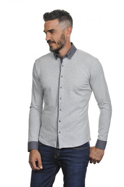 Slim Fit Classic Stretchy Shirt with Accented Collar and Cuffs