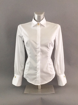 Classic Style Blouse with Gold Top Accent Button