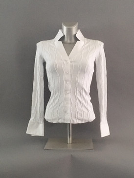 Classic Style Stretchy Blouse with Braided Detailing