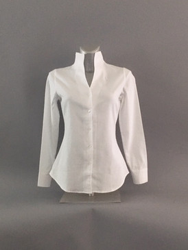 Classic Style Stand Up Collar Blouse with Pindot Detailing