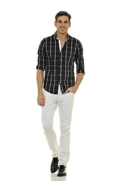 Classic Style Black Plaid Shirt