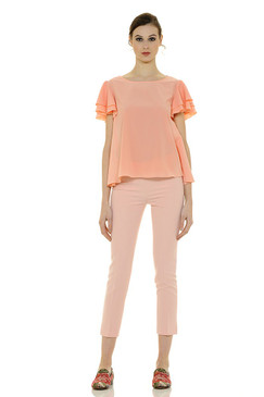 Flowing A-Line Blouse with Light Ruffled Sleeves