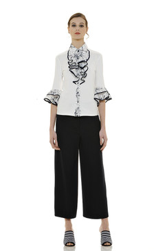 Floral Stretchy Blouse with Full Jabot and Contrasting Trim