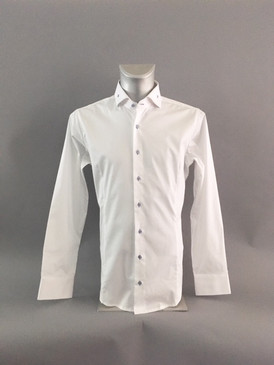 Classic Style Pindot Shirt in White with Light Blue Contrasting Buttons