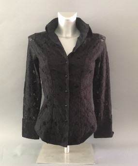 Classic Style Blouse with Floral Lace Overlay